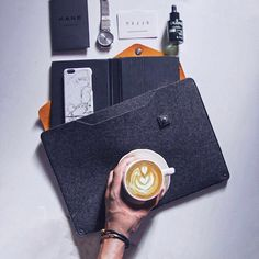 """Minimal flatlay x Coffee - by @dy_anas - Sleeve for 13"""" Macbook Air available on mujjo.com or through resellers worldwide. #mujjo"""