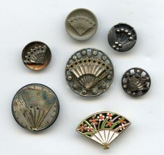 SOLD: Buttons with a FAN antique and 1 modern buttons..available in my store