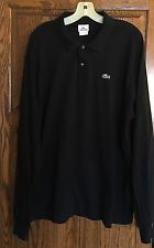 Mens Lacoste Long Sleeve Black Polo Designer Shirt - Size: USA XXL/EURO 7