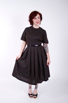 50s Vintage Dress Black Brown Striped 1950s by stutterinmama, $72.00