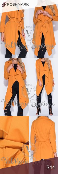 Lightweight Mustard Stretchy Fall Jacket Get your gorgeous waterfall jacket coat now!!! Stunning mustard yellow and perfect for Fall. This is a very lightweight coat and not meant for winter. But absolutely perfect for layering and Fall/Autumn. Made of 95% polyester, 5% spandex. Fits true to size. Belt sash tie. Sizes 4 through 10. ValMarie Jackets & Coats