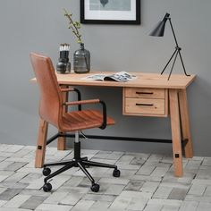 Bürostuhl Waledas - Kunstleder - Vintage Braun