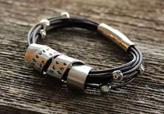 Personalized Silver and Leather Bracelet