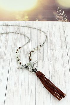 Silvertone Steer and Faux Leather Tassel Necklace #5032N-IV