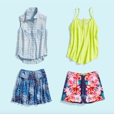 I like the yellow top! Rose From flirty florals to preppy plaid, update your wardrobe with these 3 easy tips. Cute Outfits With Shorts, Skirt Outfits, Cool Outfits, Summer Outfits, Fashion Outfits, Fashion Tips, Fashion Ideas, Casual Outfits, Grunge Dress