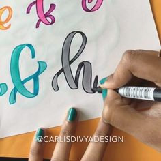Hey all! This is a repost of an old ribbon lettering video from the mini-tutorial series. Hand Lettering Fonts, Doodle Lettering, Creative Lettering, Lettering Tutorial, Brush Lettering, Abc Font, Alphabet Writing, Calligraphy Letters, Planner