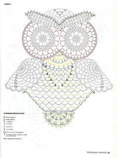 DIY Crochet Owl in Crocodile Stitch with Pattern Owl Crochet Patterns, Crochet Art, Thread Crochet, Crochet Motif, Crochet Crafts, Crochet Doilies, Crochet Stitches, Crochet Hooks, Crochet Projects