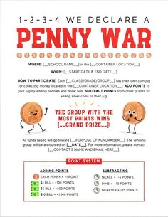 Running a penny war fundraiser just got a little easier for your PTO/PTA! Learn the rules of the game, create a custom fundraiser flyer, get printable rule charts, advice on jars and containers for the coins, bulletin board ideas, and so much more! Learn more at roommomrescue.com First Grade Activities, Kindergarten Activities, Fundraising Activities, Letter To Parents, School Fundraisers, Room Mom, Teacher Appreciation Week, Pta, How To Raise Money