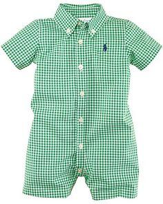 Ralph Lauren Childrenswear Infant Boys' Gingham Kensington Shortall Sizes - 3-9 Months PRICE: $35.00
