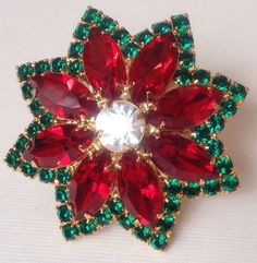 Vintage Rare Style Christmas Poinsettia Red Rhinestone Signed Eisenberg Ice Brooch.