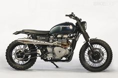"""Triumph """"Dirty Deeds"""" Scrambler by JvB-moto. The JvB-moto """"Dirty Deeds"""" Triumph Scrambler is built for any street, or trail, you can throw at it. Triumph Cafe Racer, Triumph Scrambler Custom, Scrambler Motorcycle, Moto Bike, Triumph Motorcycles, Cafe Racers, Motorcycle Touring, Classic Motorcycle, Motorcycle Jackets"""