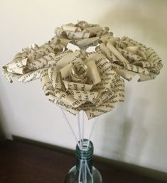 Book Page Roses : 5 Steps (with Pictures) - Instructables Old Book Crafts, Book Page Crafts, Book Page Art, Diy Arts And Crafts, Book Pages, Paper Flowers Craft, Paper Roses, Flower Crafts, Paper Crafts