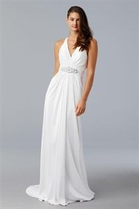 White Chiffon Wedding Dress, Halter Neck Wedding Dress, Wedding Gowns   $186.00