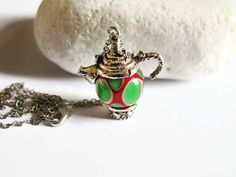 Silver Plated Teapot Necklace Teapot Charm by GlassHouseLampwork, $25.00