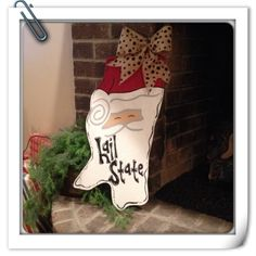 MSU Santa Door Hanger from D&M Designs just $30.00 so order yours today.   www.facebook.com/dmdesignsms