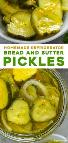 These homemade refrigerator bread and butter pickles are sweet, zesty, and crunchy. A perfect condiment for a burger or sandwich, or enjoy them as a snack on their own. This recipe is so easy and doesn't require any canning skills! Bread N Butter Pickle Recipe, Bread & Butter Pickles, Homemade Bread And Butter Pickles Recipe, Easy Pickle Recipe, Cucumber Recipes, Vegetable Recipes, Veggie Food, Refrigerator Pickle Recipes, Homemade Refrigerator Pickles