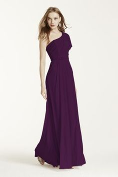 Astunning and romantic look, your bridesmaids will love to wear again!  Asymmetrical neckline and one shoulder bodicefeatures cold shoulder detail.  Adorned with beaded detail at waist.  Floor length mesh skirt with side slit is ultra-feminine and chic.  Fully lined. Imported polyester. Back zip. Dry clean only. Also available in Extra Length as Style 4XLF15519.