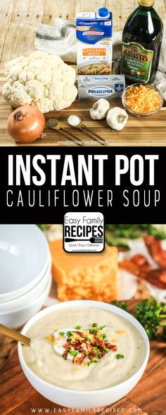 The BEST Cauliflower Soup Recipe! Instant Pot Cauliflower Soup The BEST Cauliflower Soup Recipe! Creamy Cauliflower Soup, Cauliflower Soup Recipes, Brocolli Recipes, Spinach Recipes, Roasted Cauliflower, Instant Pot Pressure Cooker, Pressure Cooker Recipes, Pressure Cooking, Cooking Recipes
