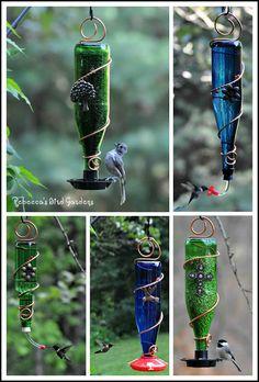 Rebecca's Bird Gardens Blog: Facebook Giveaway! - Glass Bottle Bird Feeder!