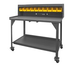 Mobile Industrial Workbench with Riser | National Business Furniture