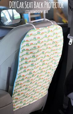 DIY Car Seat Back Protector - keep the backs of your seats clean and free of little footprints!   littleredwindow.com