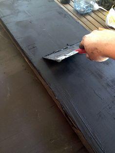 Black Concrete Countertops Black Concrete Countertops - Little Green Notebook Countertop Overlay, Diy Concrete Countertops, Black Countertops, Kitchen Countertop Materials, Concrete Table, Kitchen Countertops, Little Green Notebook, Brick Molding, Cement Crafts
