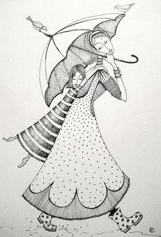 'spring day' by Charlotte Hamilton ~ Madhubani Art, Madhubani Painting, Doodle Drawings, Doodle Art, Illustrations, Illustration Art, Hamilton Drawings, Mother Art, Umbrella Art