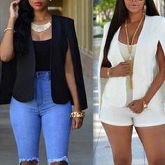 Fashion Women Long Sleeve Cardigan Casual Blazer Suit Jacket Short Coat Outwear