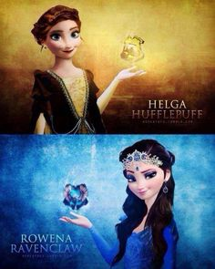 Anna as Hufflepuff and Elsa as Ravenclaw!!! I also think Kristoff and Hans would be great as Gryffindor and Slytherin :D