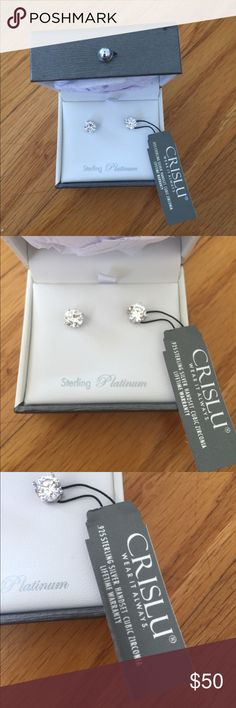 Crislu diamond earrings 2 carat Bloomingdales Gorgeous white Crislu diamond earrings set in platinum over sterling. Brand new 2 cttw. No one can tell these aren't mined diamonds. Exclusively made for wealthy people who don't want to wear their real jewels out. Commonly worn by Celebrities! Crislu has a lifetime guarantee. Only your jeweler will know that these are lab created diamonds. These are brand new and never worn. Jewelry Earrings