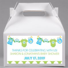 Blue & Lime Chothesline themed baby shower favor gable box Gable Boxes, Clothes Line, Favor Boxes, Baby Shower Themes, Baby Showers, Favors, Lime, Prints, Presents