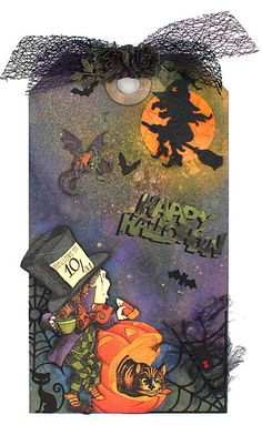 Hi everyone and Happy Halloween to you! It's yummy eat candy day! 😁 To celebrate with you today, I made this cute giant size tag wit. Halloween Scrapbook, Halloween Tags, Halloween Projects, Fall Halloween, Happy Halloween, Halloween Party, Book Crafts, Hobbies And Crafts, Paper Crafts