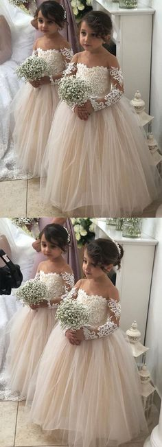 Long Sleeves a line tulle and lace Flower Girl Dress, Shop plus-sized prom dresses for curvy figures and plus-size party dresses. Ball gowns for prom in plus sizes and short plus-sized prom dresses for Tulle Flower Girl, Tulle Flowers, Pink Tulle, Gold Flower Girl Dresses, Wedding Girl, Dream Wedding, Trendy Wedding, Gowns For Girls, Girls Dresses