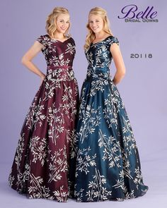 We have this beautiful modest prom dress in blue.