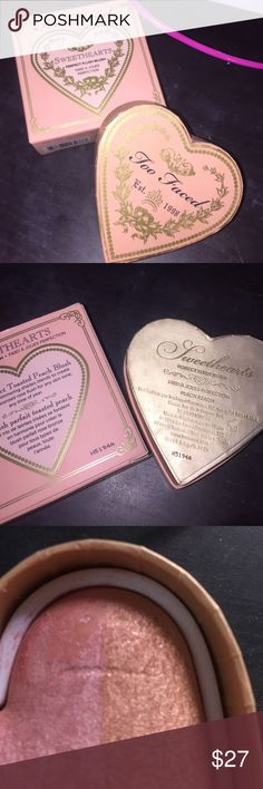 Too faced SweetHeart blush-Peach Beach 💕💕💕💕Too faced SweetHeart Blush in the shade Peach Beach💕💕💕💕 THIS HAS BEEN GENTLY USED!!!! Has NO significant depression in product however does have a little scratch in it as seen in picture 3. Product will be sanitized with alcohol spray before shipping. 📢📢📢📢📢IM GOING ON VACATION AUGUST 16 through the end of August. If this does not sell before the 15th I will be deleting the post📢📢📢📢📢 Too Faced Makeup Blush