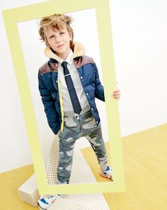 J.Crew boys' Penfield® Rockwool jacket, Thomas Mason® for crewcuts Ludlow shirt in white, silk tie, classic tie clip, slim slouchy sweatpant in camo and New Balance® for crewcuts 996 lace-up sneakers.