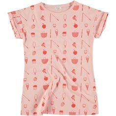 Picnik Pink Tee Dress features a tight fit and an all over summer fun print. T Dress, Fun Prints, Floral Tops, Picnic, Tights, Cute Outfits, Tees, Cotton, Clothes