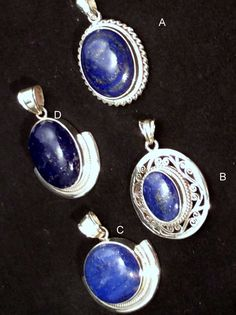 Blue Lapis & Sterling Silver Pendant. Round by LotusLakeBuddhist