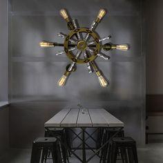Loft Style Creative Rudder Wall Lamp Industrial Vintage Wall Light Fixtures Iron Wood Edison Wall Sconce Indoor Lighting