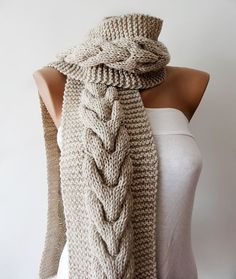 Beautiful Oatmeal Cable Scarf: Mens Womens Knit Scarf Cable Knit Scarf Hand by KnitsbyVara Crochet Crafts, Knit Crochet, Fabric Yarn, Lace Scarf, How To Purl Knit, Knitted Headband, Knitting Accessories, Dress To Impress, Lana