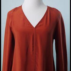 TUCKER Orange Long Sleeve Silk Blouse Size Small TUCKER Orange Long Sleeve Silk Blouse Size Small Tucker Tops Blouses