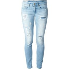 DONDUP Skinny Jeans With Distressed Effects ($247) ❤ liked on Polyvore featuring jeans, pants, bottoms, calças, trousers, ripped jeans, destructed jeans, blue skinny jeans, torn skinny jeans and torn jeans