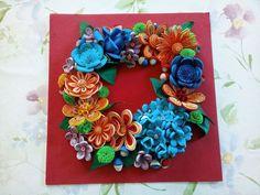 Quilling Flowers / Rainbow Colors / Original Quilling Art  /