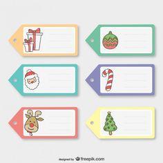 Etiquetas coloridas do Natal Vetor grátis