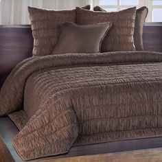 Chauran Freya Espresso Ruched Cotton Quilt | Overstock.com Shopping - The Best Deals on Quilts