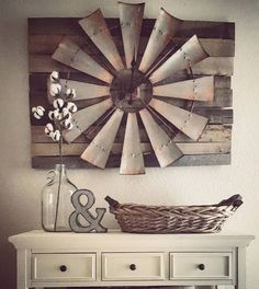 Vintage Farmhouse Decor Over-sized Windmill and Barn Wood Wall Clock More - There are many rustic wall decor ideas that can make your home truly unique. Not sure where to start? Browse through the best designs! Diy Home Decor Rustic, Country Farmhouse Decor, Cheap Home Decor, Farmhouse Chic, Country Living, Farmhouse Ideas, Farmhouse Design, Farmhouse Interior, Fresh Farmhouse