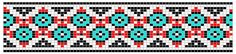 Traditional Pattern in Red, Black, and Turquoise seed beads for loom beadwork