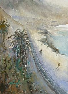 Torrey Pines Beach, San Diego XII, California Landscape Painting - Original Fine Art for Sale - © Keiko Tanabe