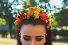 Fall harvest crown Autumn headband with bright fruits and berries Fruit headpiece Fairy Costume Woodland Boho Bridal Party Adult headband by ShinyBeautyStore on Etsy