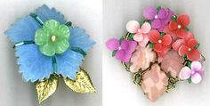 Floral brooches.